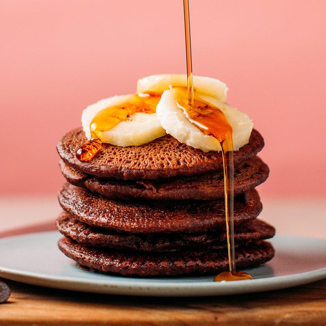 Chocolate Protein Pancakes (Vegan + GF) - Full of Plants