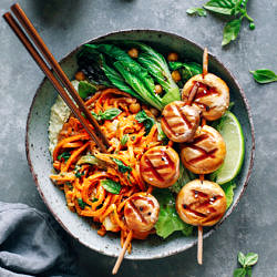 Almond Butter Sweet Potato Noodle Bowls